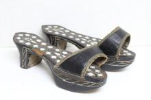 Antique Turkish Ottoman 19th c. Wood Hamman Shoes