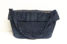 Vintage 1950s Dark Blue Beaded Handbag