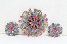 Vintage 1960s Pink & Blue Rhinestone Brooch & Earrings