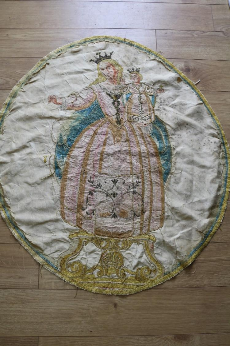 Antique early religious embroidery on silk metallic thread