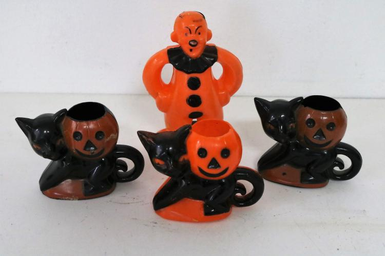 Lot of 4 vintage halloween candy containers Vintage halloween decorations uk