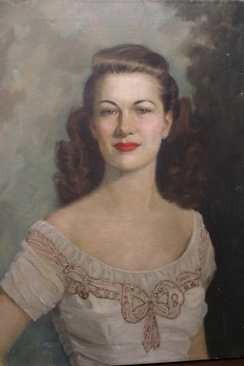 1950's Vintage Portrait, Oil on Canvas