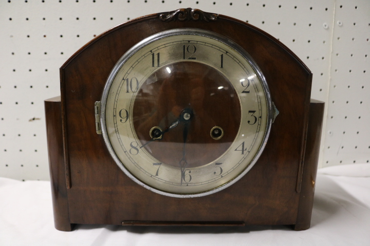 Antique Mantel Clock, FHS, Mahogany
