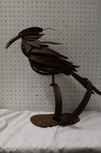 Hand Crafted Metal art Bird on stand