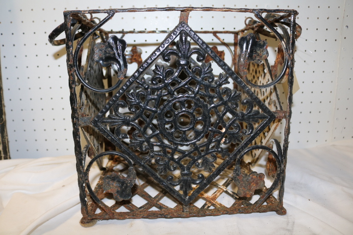 Decorative Vintage Cast Iron Milk Crate Basket