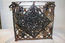 Decorative Vintage Cast Iron Milk Crate Basket