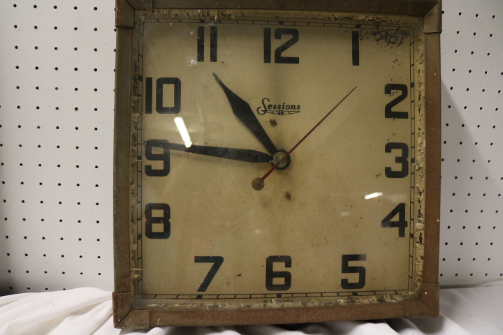 Square Metal Electric Sessions School House Clock
