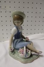 Lladro seated girl with flower basket