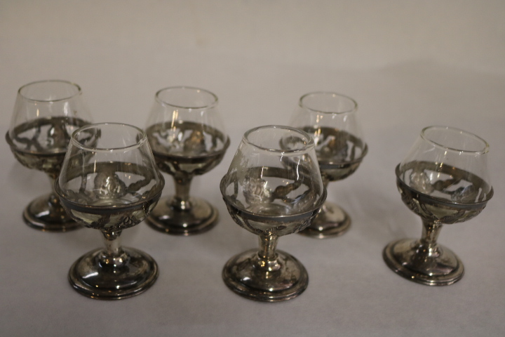 lot of 6 Sterling Silver Cordials