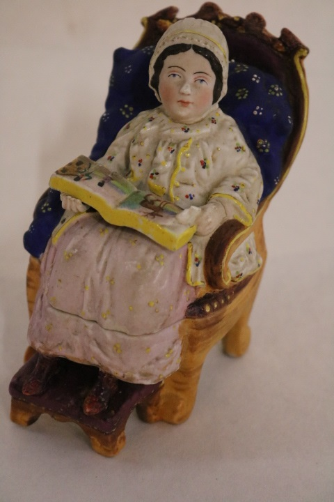 Staffordshire Covered Lipstick Holder, Lady on chair reading book