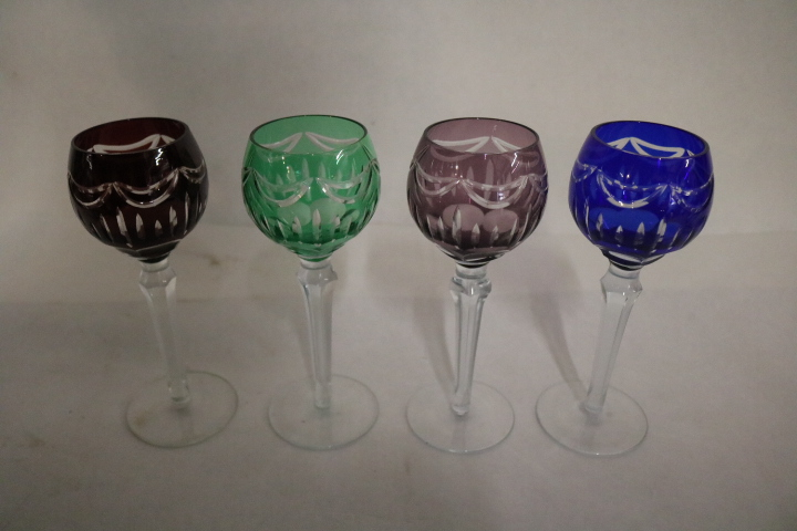 lot of 4 Bohemian Cut to Crystal Wine Goblets