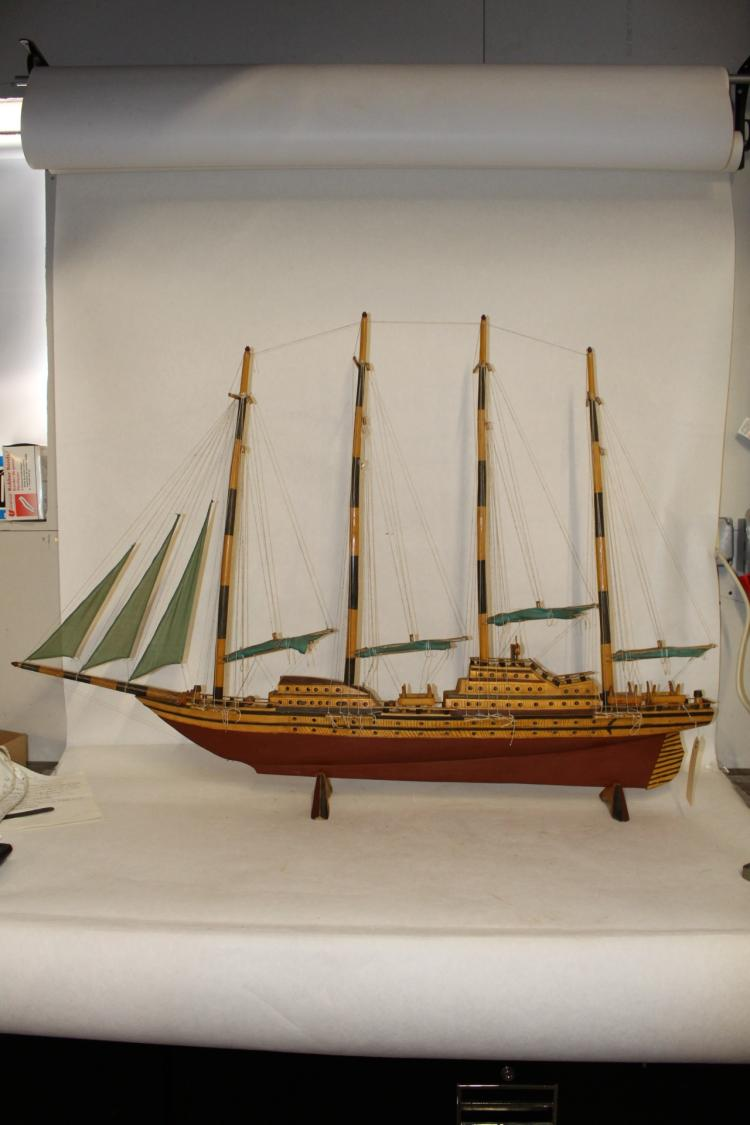 Large Model Ship, wood with canvas sails, approx. 53 inches long, 37 tall