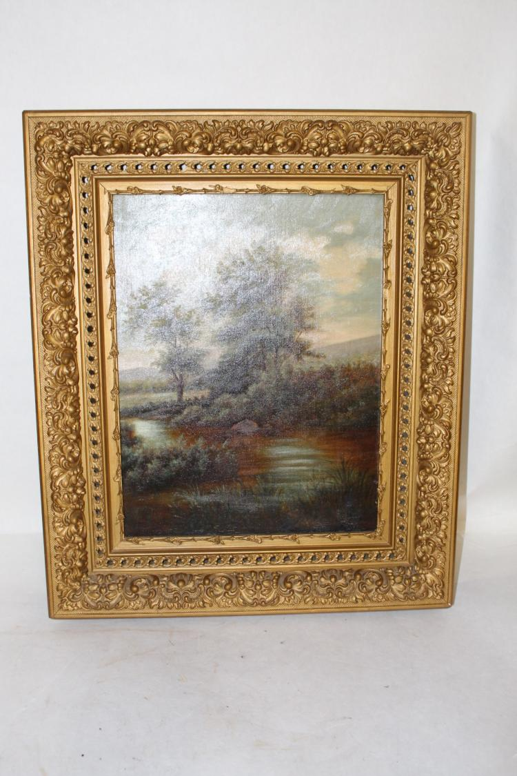 Antique 1885 Oil on Canvas, Stunning Gold Leaf Frame