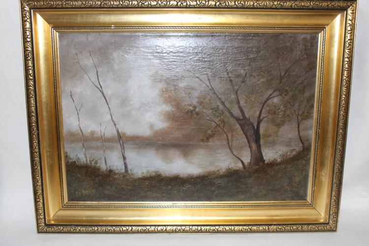 Le Brun, Oil on Canvas, Woodland Pond Scene