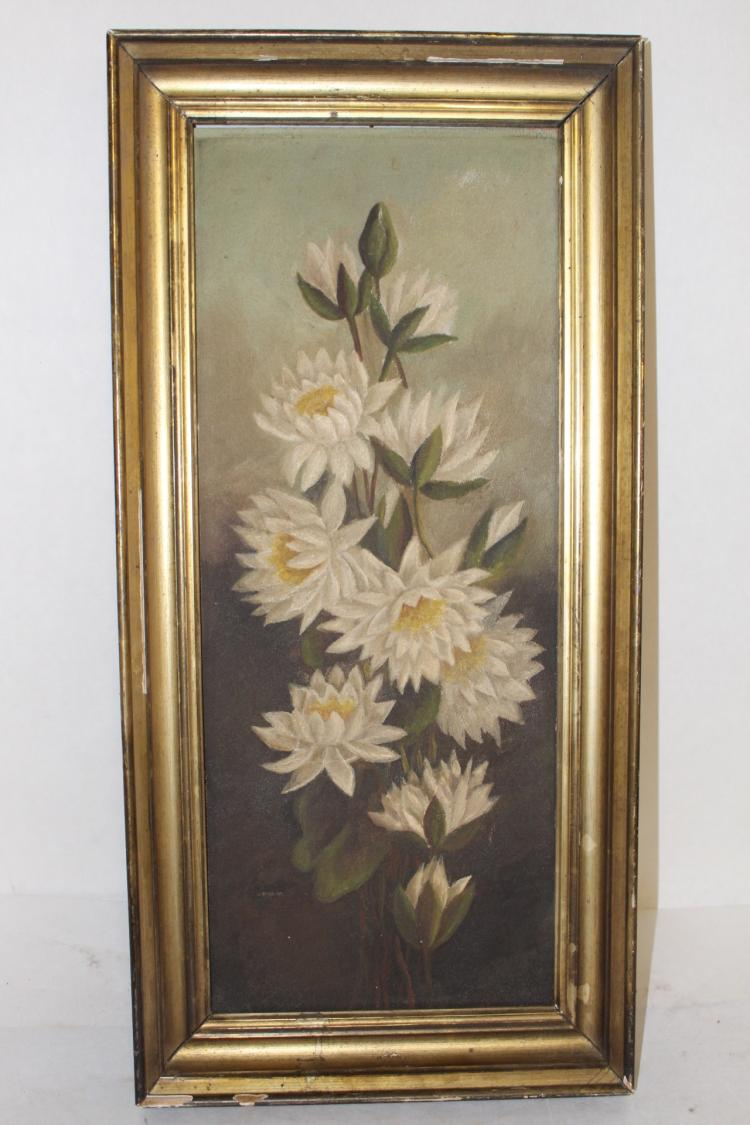 Victorian Oil on Board, Floral