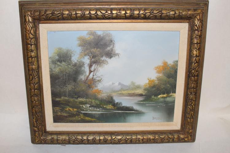 Oil on Canvas by Bader, Mountain Stream