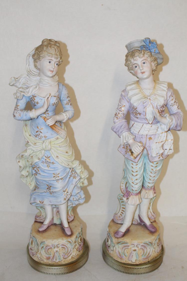 Pair of large Antique German Bisque Figures