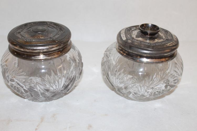 2 piece Heisey Dresser Jar and Hair Receiver