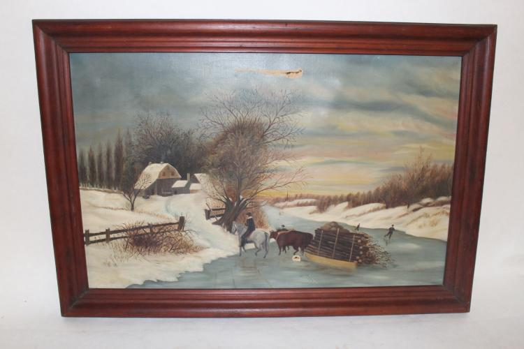 Circa 1885 Oil on Canvas, Winter Scene with Oxen and Skaters