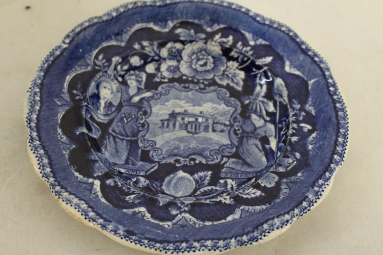 Staffordshire 1825, George Washington Masonic Flow Blue Plate