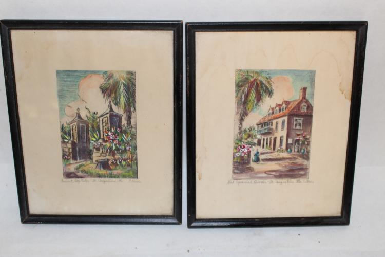 Pair of Water Colors, signed E. Oliver