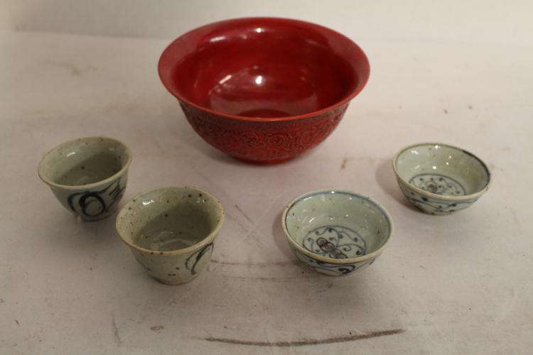 Asian Red Porcelain Bowl and 4 small porcelain bowls