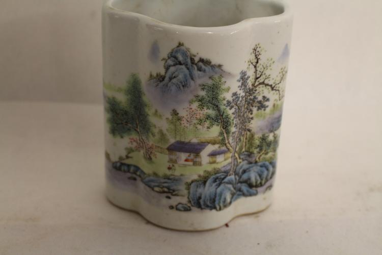 Chinese Porcelain Brush Pot with Landscape