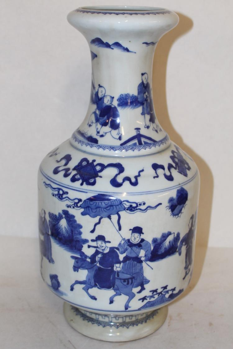 Large Antique Chinese Blue and White Porcelain Vase