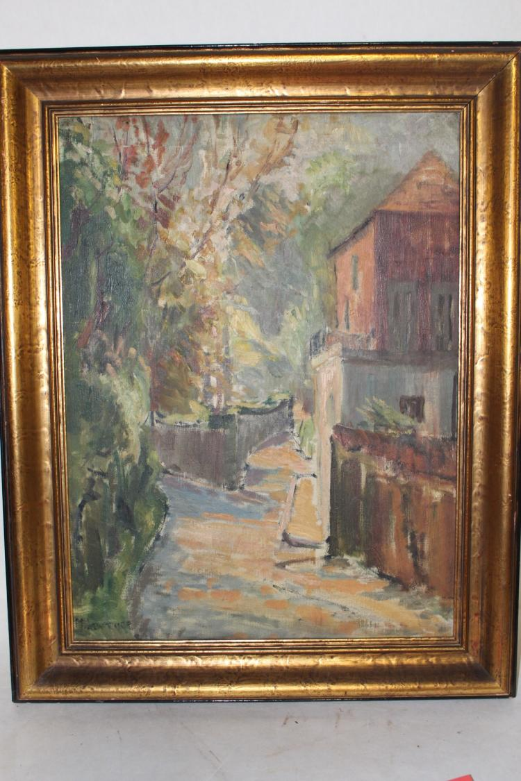 Oil on canvas, circa 1920, signed, Street Scene
