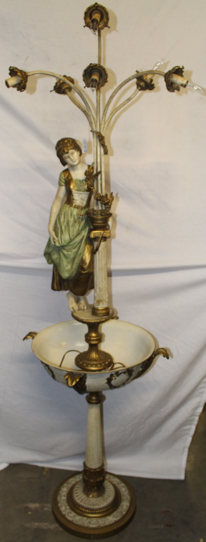 Vintage Fountain Light with Goddess
