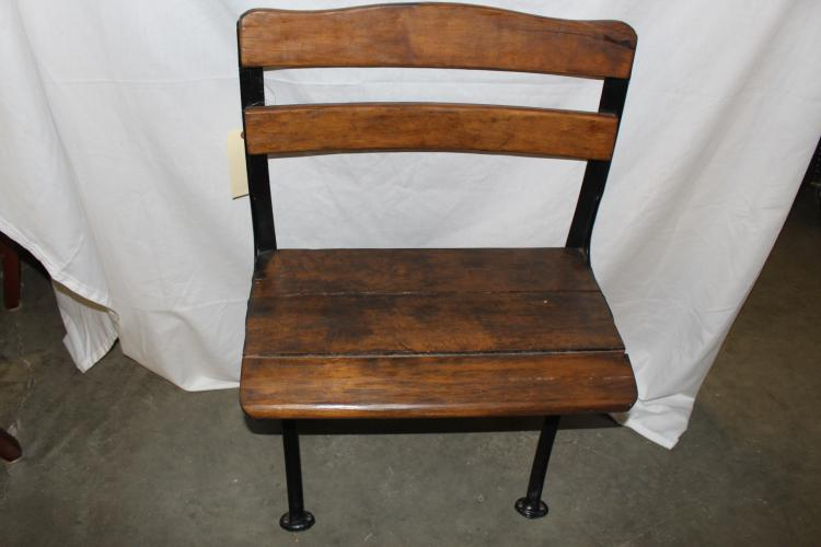 Antique Cast Iron School Bench with wood