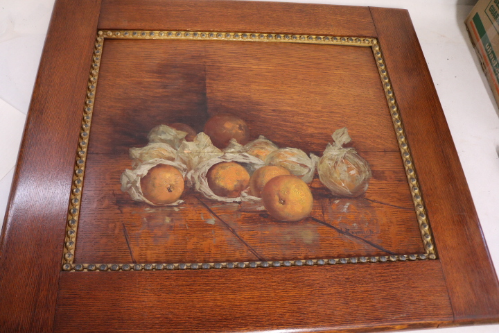 Victorian Still life, Fruit, oil painting on Oak Board with Oak frame, signed H. Rayman