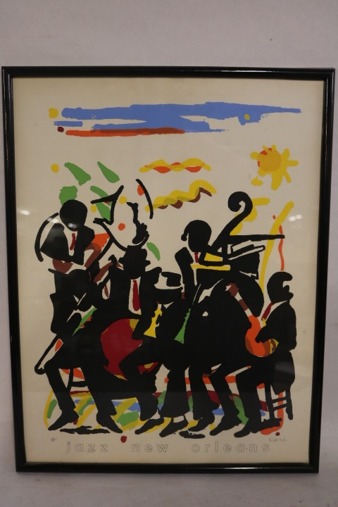 Jazz New Orleans, D. Scott, II edition, abstract musicians/jazz lithograph #384/5000