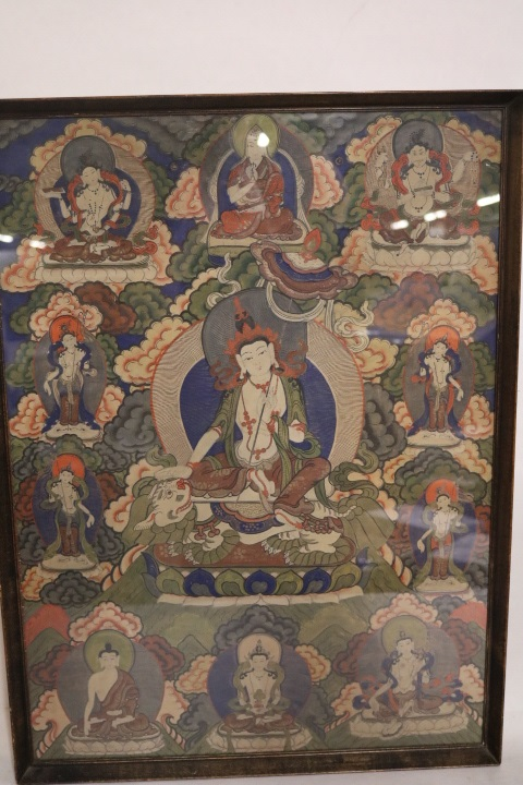 Antique Thangka Tanka, Watercolor on rice paper