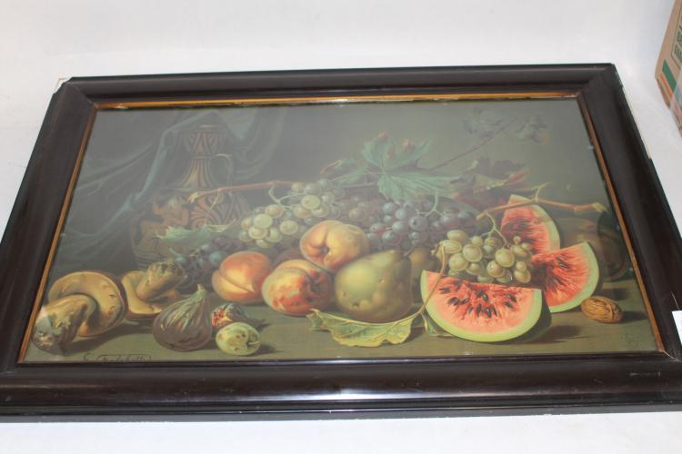 Victorian Lithograph, Still life Fruit by G. Falchetti