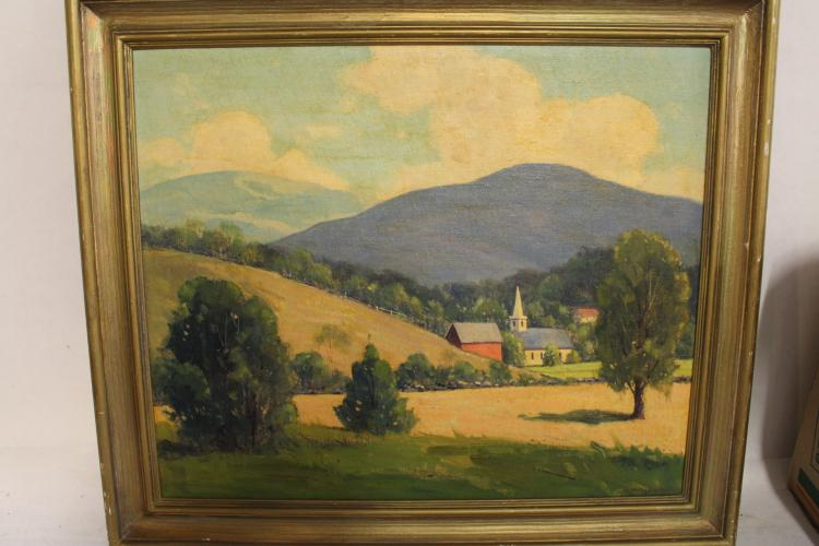 Oil on Board, Mary Bigalow, Church/Landscape