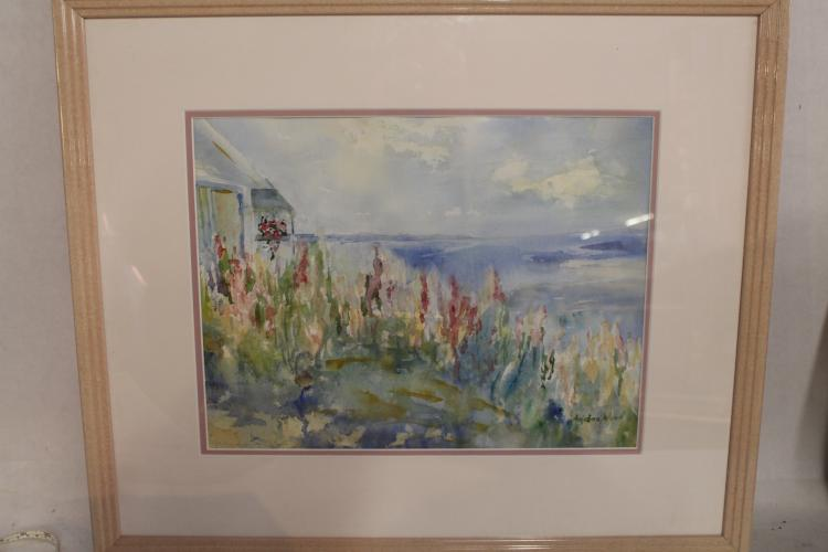 Watercolor signed Angelina Wood, Seascape