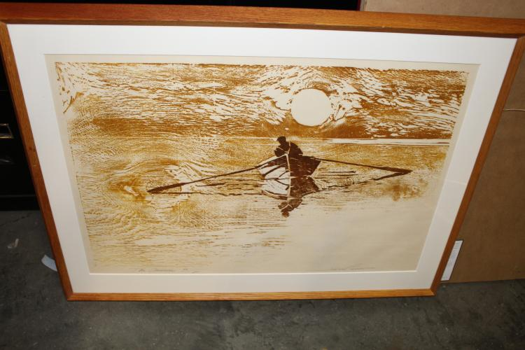 The Oarsman by Jan Provest, wood cut print, signed and numbered #49/75