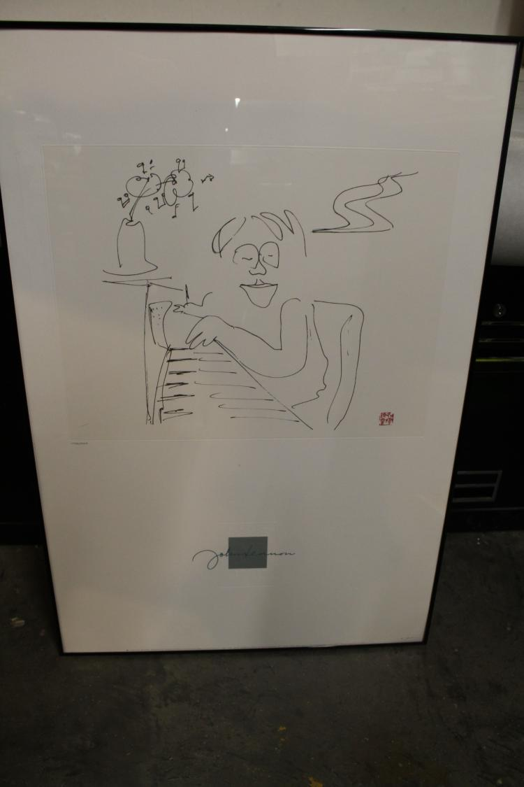 John Lennon lithograph, signed and numbered 4553/5000, copy right 1988, authorized by Yoko Ono,