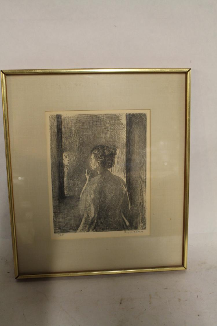 Raphael Soyer, signed and numbered lithograph #1/25, lady in mirror