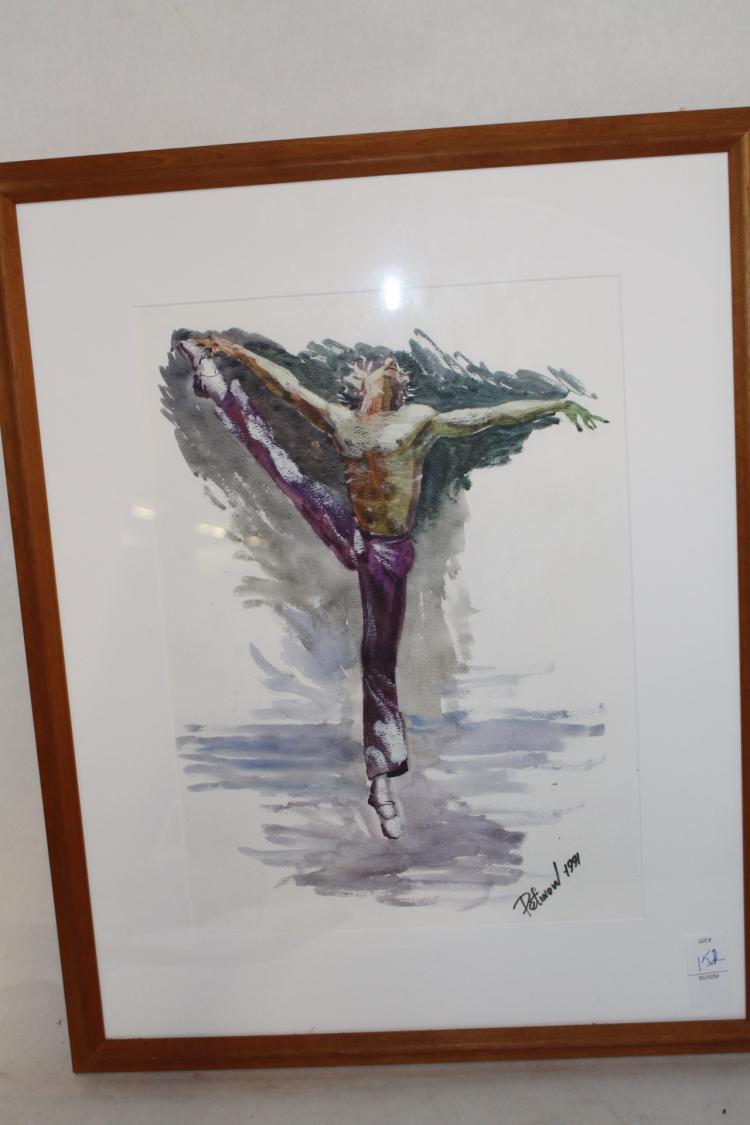 Water Color, Man Ballet, signed Pefinow 1991