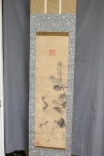 ANTIQUE JAPANESE SCROLL, RED CRESTED CRANES, SIGNED