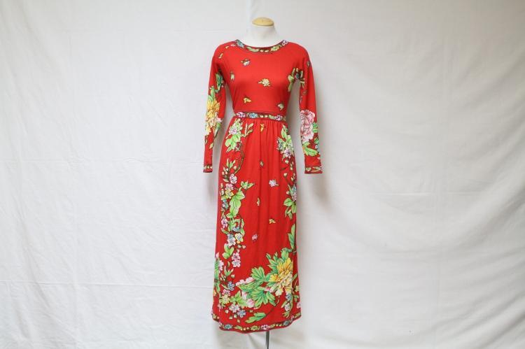 Vintage 1970's Maurice Red Floral Dress