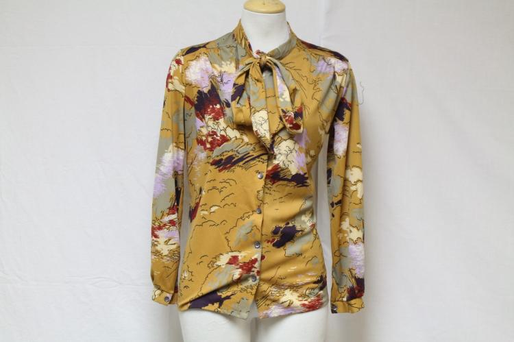Vintage 1970s Brown Abstract Print Blouse