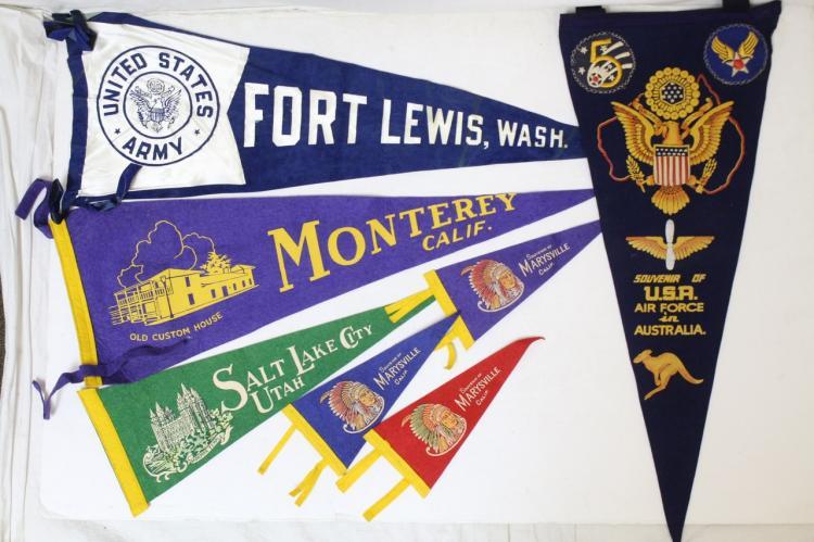 Vintage Lot of Tourist & Military Pennants