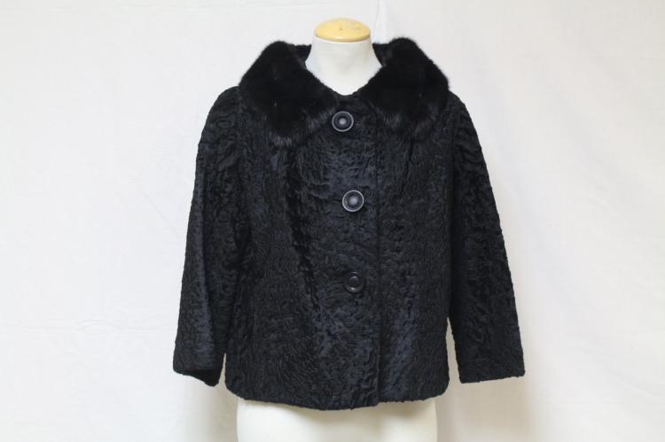 Vintage 1960s Black Fur Trim Car Coat