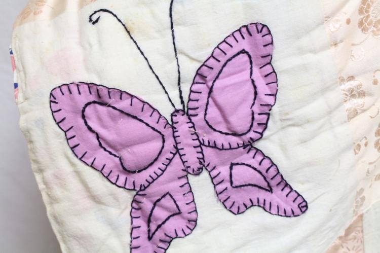 Vintage 1940s Butterfly Handmade Quilt