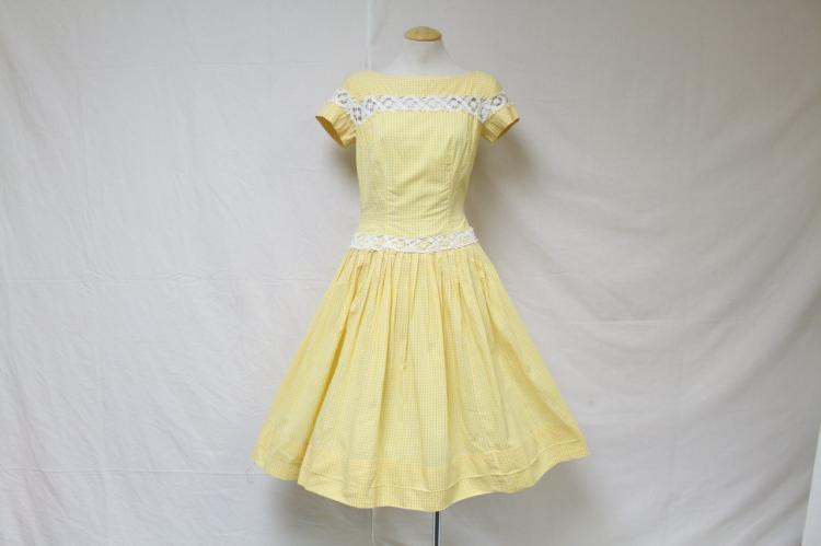 Vintage 1950s Yellow Gingham Dress
