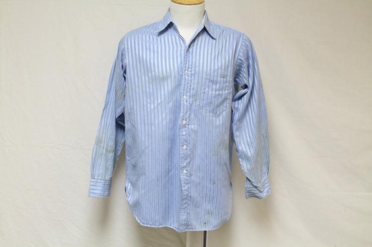 Vintage 1940s Men's Blue Striped Shirt