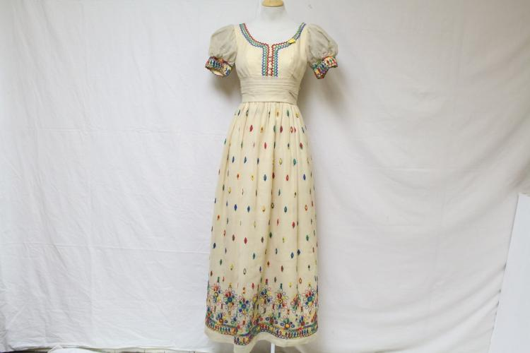 Vintage 1960s Embroidered Maxi Dress